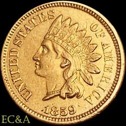 1859/1859 Indian Head Cent Repunched Date Mint Error Ih88