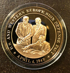 Us And Western Europe Sign Nato Pact 1949 Proof Bronze Medal/coin Franklin Mint