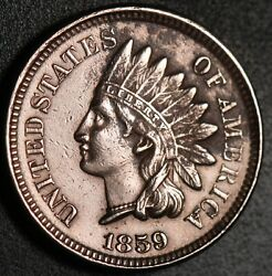 1859 Indian Head Cent -with Liberty And Near 4 Diamonds - Au Unc Details
