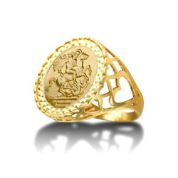Jewelco London 9ct Gold Loves St George Ring Half Sov Size