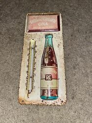 Vintage Rc Royal Crown Cola Metal Advertising Soda Thermometer Sign 13.5x6
