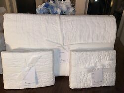 Nwt Pottery Barn Lilo Cotton King Size Quilt And 2 Euro Shams White Retail 478