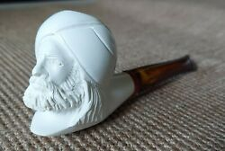 Vintage Hand Carved Block Meerschaum Pipe with Sultan Head Never Used
