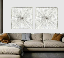 2 Silver Abstract Metal Wall Hangings Sculpture Contemporary Modern Decor Design