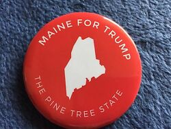 2016 Donald Trump Authentic Maine For Trump Official Red Pin Back Button