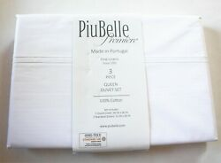 Piu Belle Queen Duvet Cover Set 3pc White With Elegant Double Row Embroidered