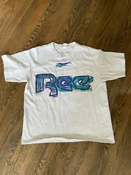Vintage Made in USA Reebok Graphic Small Graphic Shirt Grey Size Large