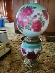 Gone With The Wind Hurricane Style Oil Lamp, Electrified With Roses Red Andgreen