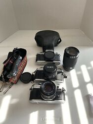 35mm Film Camera Lot, Canon Ae-1, Minolta X-370, And Yashica Fx-70 - Used