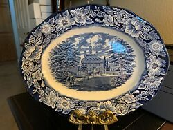 Liberty Blue Staffordshire 12 Serving Platter Governor's House Mint Condition