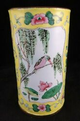 Antique Chinese Enamel On Copper Brush Pot W/king Fisher Birds 5andrdquo Tall.