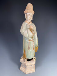China Chinese Polychrome Pottery Figure Of A Court Attendant Ming Dynasty 16th C