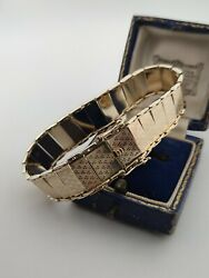 9ct Gold Panel Link Articulated Cuff Bracelet