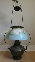 Antique Hurricane Oil Lamp Large Hanging Ceiling Hand Painted Cast Iron Chimney