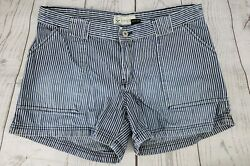 Authentic Jeanswear 11 Junior Hipster Denim Shorts Blue Striped Casual Summer
