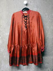 Sacai Luck - Over-sized Dress W/ Neck Ties In Burgundy Red Paisley Print