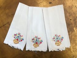 Vintage Irish Linen Hand Embroidered Madeira Fingertip Towels New Old Stock