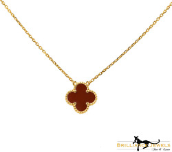 And Vintage Red Carnelian 18k Yellow Gold Necklace