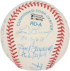 Mlb Perfect Game Pitchers Signed Toned Ball With 12 Sigs And Inscs - Psa V06194