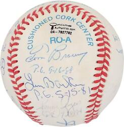 Mlb Perfect Game Pitchers Signed Toned Ball With 12 Sigs And Inscs - Psa V06199