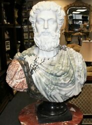 Roman Life Size Hand Carved White Gray And Red Alicante Marble Bust Statue