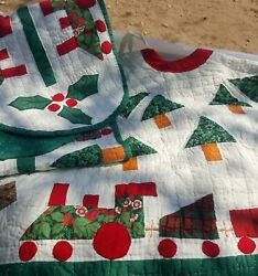 Train Christmas Tree Skirt Table Runner Quilted Holly Engine Car Very Festive