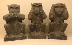 18th-19th C. Asian Hand Carved Stone Monkeys- Hear,see,speak No Evil Sculptures