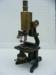Antique W.watson And Sons Brass Microscope Bactil