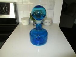 Vintage ITALIAN Blue Glass DECANTER w Round ORB Stopper Beautiful Piece 10quot;
