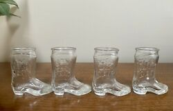 Jim Beam Clear Glass Cowboy Boot Whiskey Alcohol Shot Glasses 3 4
