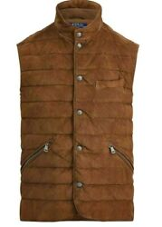 998 Polo Men's Quilted Suede Down Brown Puffer Vest Gilet Sz.small