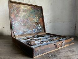 Antique French Artists Box With Contents. Untouched amp; Orignal Condition