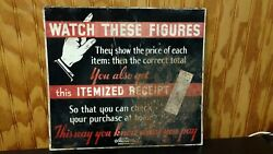 National Cash Register Co Advertising Sign Watch These Figures Itemized Receipt