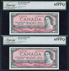 Two Consecutive 1954 Bank Of Canada 1000 Banknote - Legacy Gem New 65 Ppq