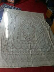 Vintage Quaker Lace Style Tablecloth Floral No Tag 80andrdquo X 64andrdquo Beige Edge Loops
