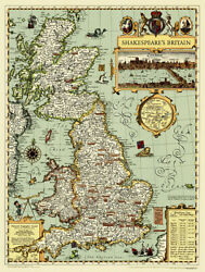 Shakespeare#x27;s Britain Wall Map by National Geographic