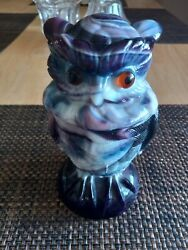 Glass Owl Mid Century Purple Blue And White Fenton Glass Two Piece
