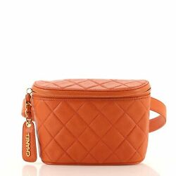 Vintage Zip Belt Bag Quilted Caviar Small 70