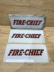 Lot Of 3 Fire-chief Glass Gas Pump Inserts For Wayne Pump