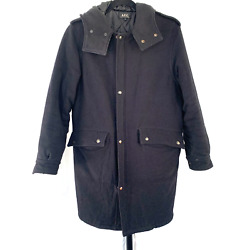 Apc Heavyweight Hooded Wool Parka Coat With Snaps Mens Small