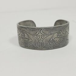 Salsbury Pewter May Lily Of The Valley Cuff Bracelet 1 1/20 Wide Engraved May