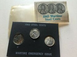 1943 P S D Lincoln Wheat Steel War Set Of 3 Cents Uncirculated