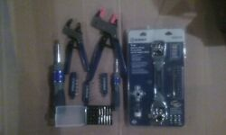 Kobalt 2pc Magnum Grip Pliers And Reversible Screw Driver Set With Bits And More