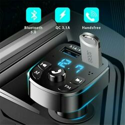 Car Wireless-bluetooth Fm Transmitter Mp3 Player 2 Usb Car Fast Charger/adapter