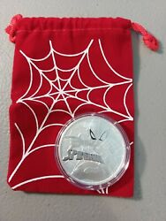 2017 1 Tuvalu 1 Oz .9999 Marvel Spiderman Coin In Capsule With Red Bag