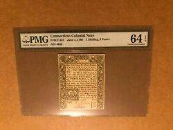 Connecticut June 1780 Colonial Banknote Pmg 64 Epq 1 Shilling 3 Pence S/n 4439
