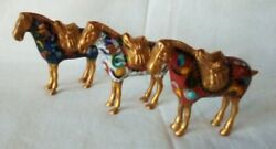 Lot Of 3 Beautiful Antique Vintage Miniature Asian Painted Metal Horse Figurines