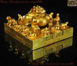 Old Chinese Bronze 24k Gold Gilt 12 Zodiac Lucky Beast Statue Seal Stamp Signet