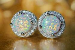 3.20ct Round Cut Fire Opal And Diamond Halo Stud Earringand039s 14k White Gold Finish