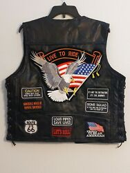 Buffalo Leather Harley Davidson Black Vest With Various Patches Men's Large